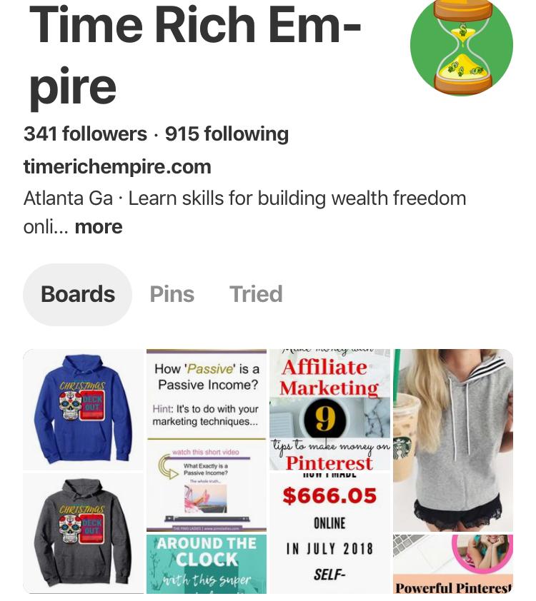 Pinterest Time Rich Empire
